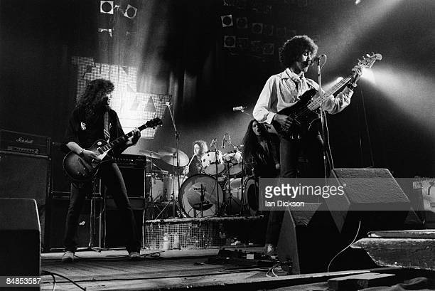 Photo of Phil LYNOTT and Scott GORHAM and Brian ROBERTSON and THIN LIZZY and Brian DOWNEY LR Brian Robertson Brian Downey Scott Gorham Phil Lynott...