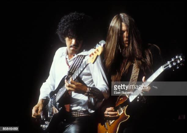 PALLADIUM Photo of Phil LYNOTT and Scott GORHAM and THIN LIZZY LR Phil Lynott Scott Gorham performing live onstage