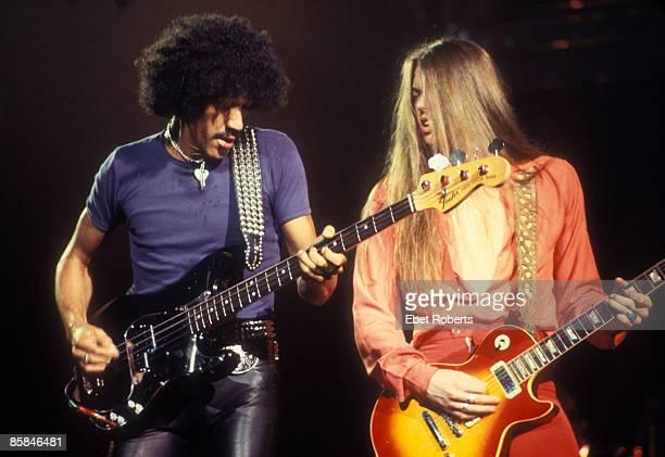 PALLADIUM Photo of Phil LYNOTT and Scott GORHAM and THIN LIZZY Phil Lynott Scott Gorham performing live onstage