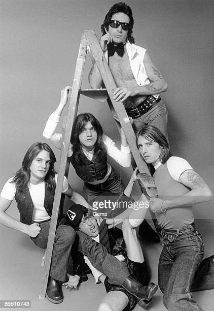 Photo of Phil RUDD and Mark EVANS and Malcolm YOUNG and Bon SCOTT and Angus YOUNG and AC/DC and AC DC LR Bon Scott Mark Evans Malcolm Young Phil Rudd...