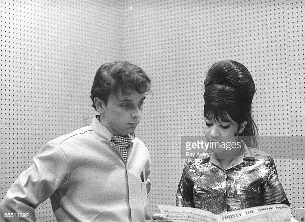 Photo of Phil Spector w/Ronnie Bennett recording