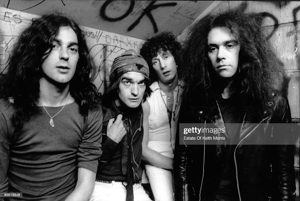 Photo of PINK FAIRIES; Sandy Mac, Martin 'Mad Dog' Stone, Russell Hunter, Larry Wallis - posed, backstage