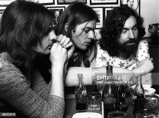 Photo of PINK FLOYD and David GILMOUR and Rick WRIGHT and Nick MASON Photo HJ Dibbert L to R Rick Wright David Gilmour Nick Mason posed backstage...