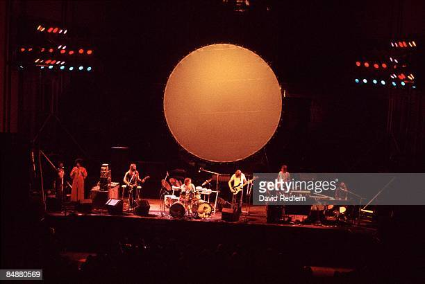 Photo of PINK FLOYD LR backing singers Dave Gilmour Nick Mason Roger Waters Dick Parry Rick Wright performing live onstage on Dark Side of the Moon...