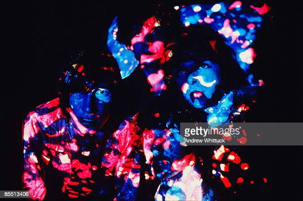 Roger Waters Syd Barrett Nick Mason Rick Wright posed group shot psychedelic lighting