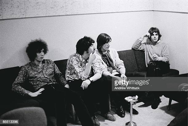 Photo of PINK FLOYD LR Syd Barrett Nick Mason Roger Waters Rick Wright posed group shot in recording studio control room