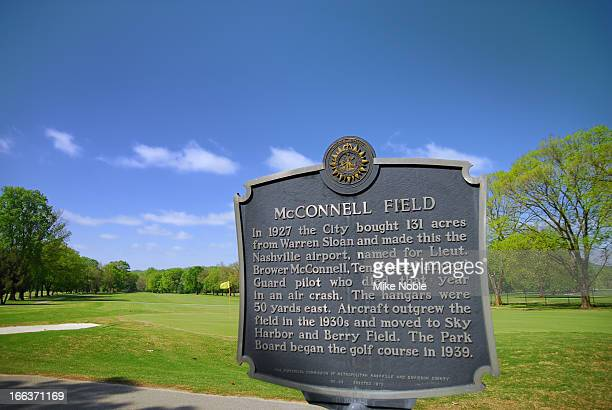Photo of plaque describing McConnell Field as the Nashville Airport until the airport was moved and turned into McCabe Golf Course.