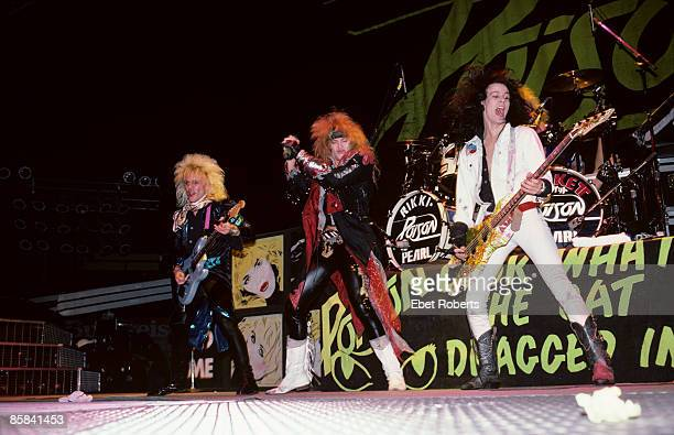 UNITED STATES MARCH 20 MADISON SQUARE GARDEN Photo of POISON and CC DEVILLE and Bret MICHAELS and Bobby DALL LR CC DeVille Bret Michaels and Bobby...