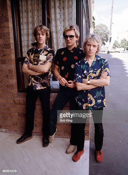 Photo of POLICE and Stewart COPELAND and STING and Andy SUMMERS Posed group portrait LR Stewart Copeland Sting and Andy Summers