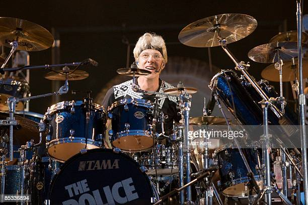 FESTIVAL Photo of POLICE and Stewart COPELAND Drummer Stewart Copeland performing on stage