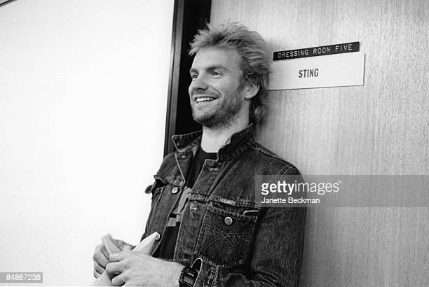 Photo of POLICE and STING posed backstage outside dressing room at Channel 4