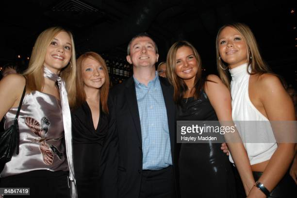 Photo of POP RIVALS finalists who became Girls Aloud LR Nicola Ward Nicola Roberts Louis Walsh Nadine Coyle Kimberley Walsh posed group shot