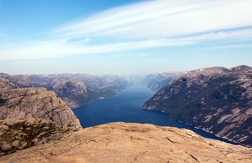 Photo of Preikestolen, Pulpit Rock at Lysefjord in Norway. Aerial view. 973907136