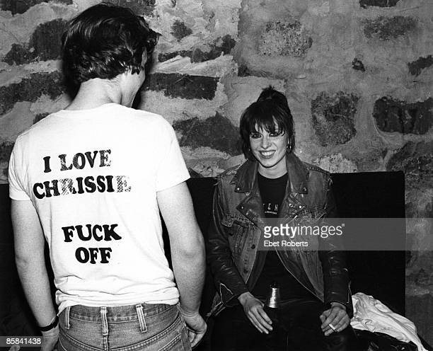 HAVEN Photo of PRETENDERS and Chrissie HYNDE Chrissie Hynde backstage at Toads Place smoking cigarette drink beer