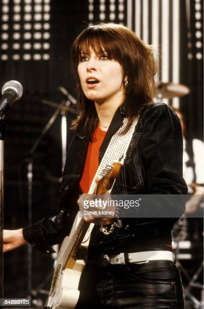 STUDIOS Photo of PRETENDERS and Chrissie HYNDE Chrissie Hynde performing on 'The Kenny Everett Video Cassette' TV show