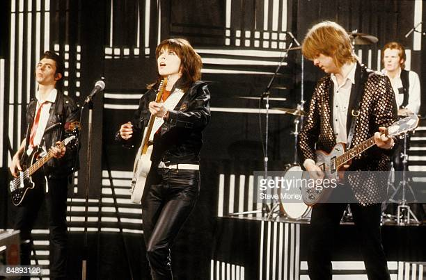 Photo of PRETENDERS and Martin CHAMBERS and Chrissie HYNDE and James HONEYMAN SCOTT and Pete FARNDON, Group performing on 'The Kenny Everett Video...