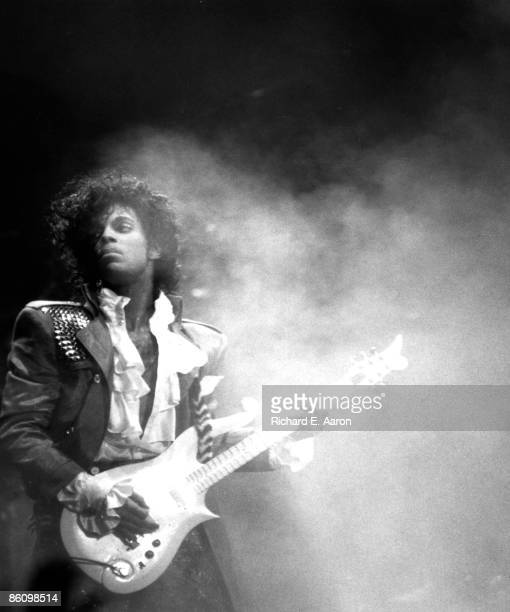 Photo of PRINCE, Prince performing on stage - Purple Rain Tour
