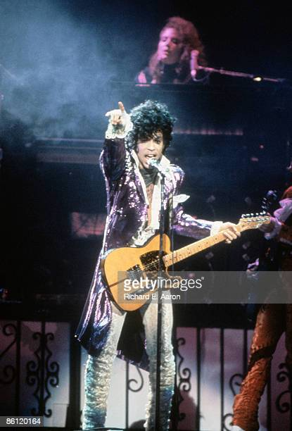 Photo of PRINCE; Prince performing on stage - Purple Rain Tour