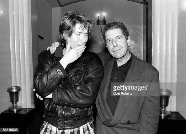 Photo of PSYCHEDELIC FURS and Leonard COHEN with Richard Butler of the Psychedelic Furs posed