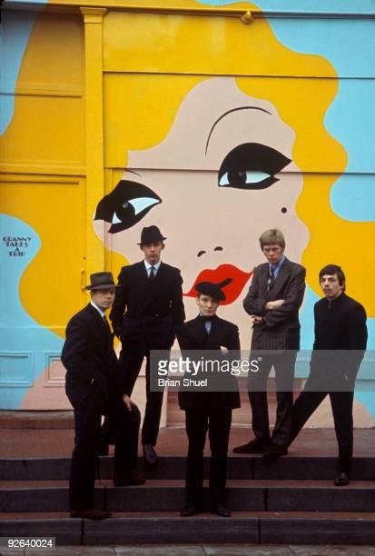 Photo of PURPLE GANG Posed group portrait The Purple Gang outside the shop 'Granny Takes a Trip' in Chelsea LR Joe Beard Peter Walker Geoff Bowyer...