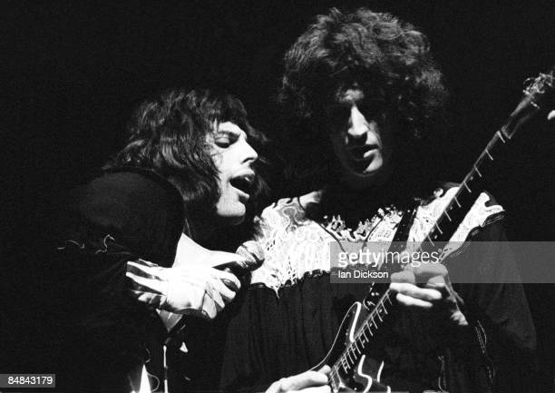 Photo of QUEEN and Freddie MERCURY and Brian MAY Freddie Mercury and Brian May performing live on stage