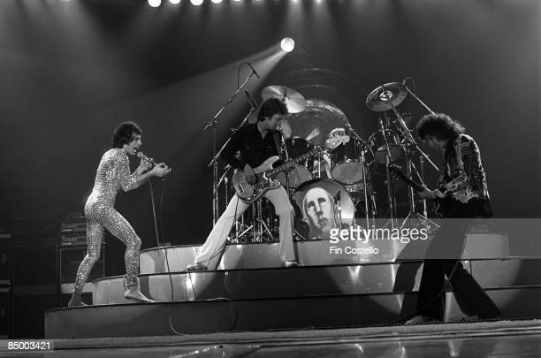 AHOY Photo of QUEEN LR Freddie Mercury John Deacon Roger Taylor and Brian May performing on stage