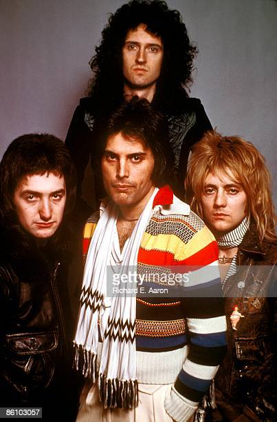 Photo of QUEEN Posed group portrait John Deacon Brian May Freddie Mercury and Roger Taylor