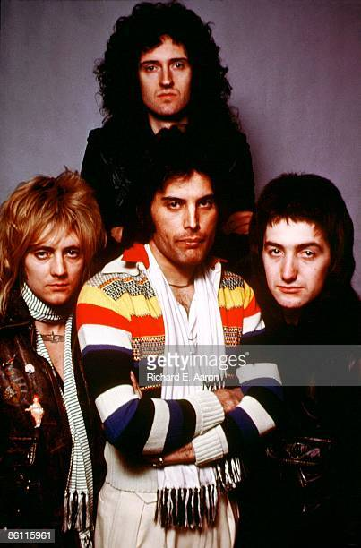 Photo of QUEEN Posed group portrait Roger Taylor Brian May Freddie Mercury and John Deacon