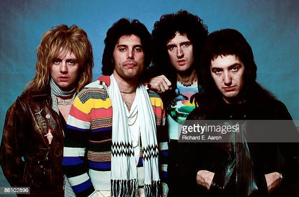 Photo of QUEEN Posed group portrait Roger Taylor Freddie Mercury Brian May and John Deason