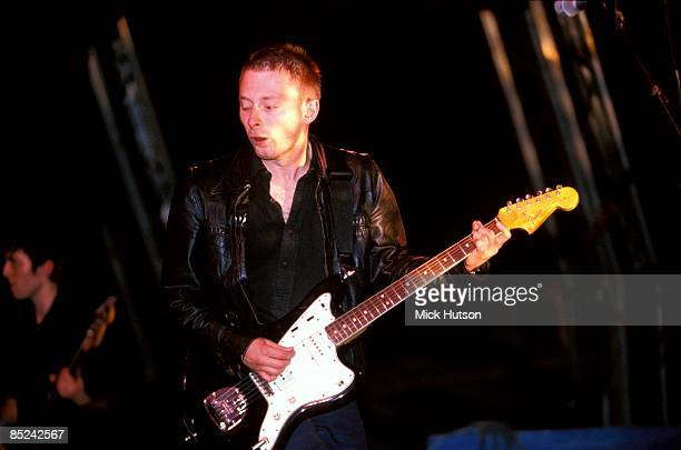 FESTIVAL Photo of RADIOHEAD and Thom YORKE Thom Yorke performing live onstage playing Fender Jazzmaster guitar