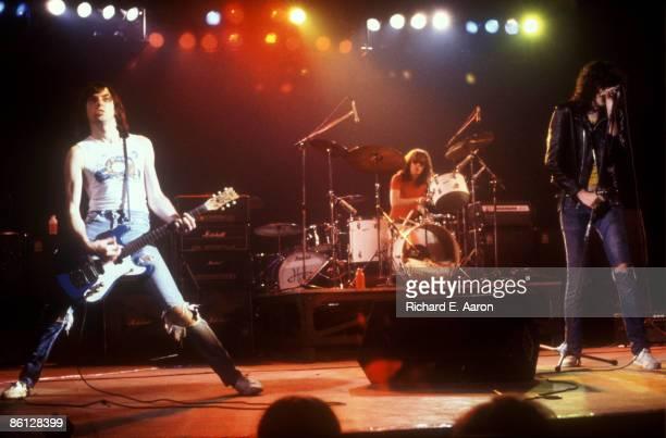 Photo of RAMONES and Johnny RAMONE and Joey RAMONE and Tommy RAMONE; L-R: Johnny Ramone, Tommy Ramone, Joey Ramone performing live onstage