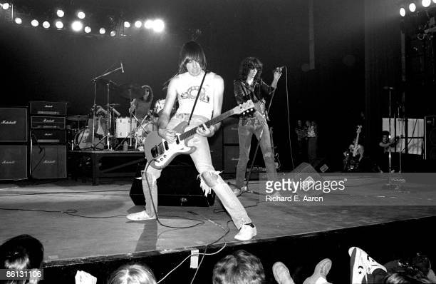 Photo of RAMONES and Tommy RAMONE and Johnny RAMONE and Joey RAMONE; L-R Tommy Ramone , Johnny Ramone and Joey Ramone performing on stage