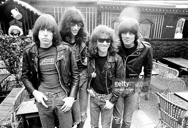 Photo of RAMONES; The Ramones. Left to right: Johnny Ramone , Joey Ramone , Tommy Ramone , Dee Dee Ramone , May 1977 - Tivoli Gardens, Copenhagen,...