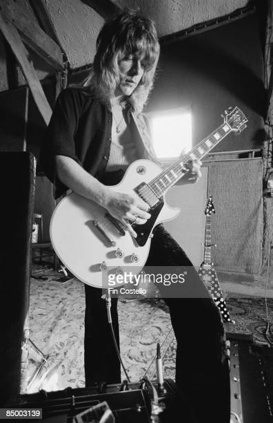 STUDIOS Photo of Randy RHOADS recording Blizzard Of Oz with Ozzy Osbourne playing Gibson Les Paul guitar