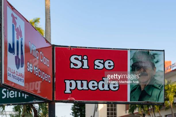 Photo of Raul Castro and his famous phrase 'Si se puede' The banner is seen in the Communist Party Provincial Headquarters