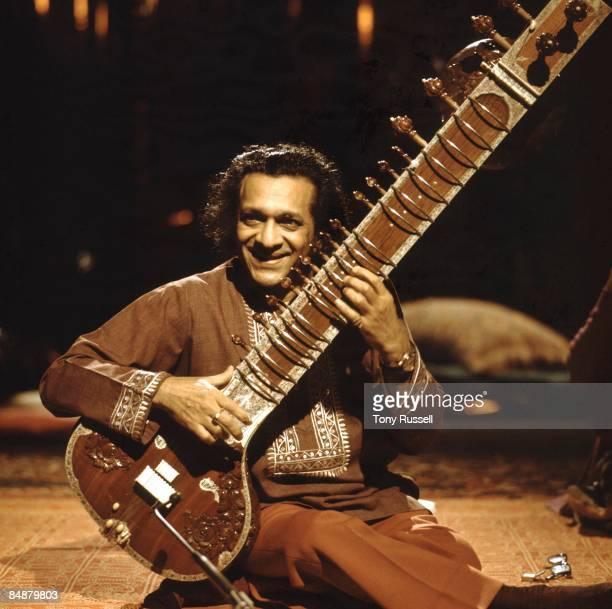 STUDIO Photo of Ravi SHANKAR playing sitar performing on 'In Concert' BBC TV show