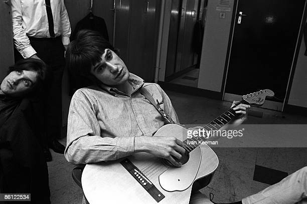 CENTRE Photo of Ray DAVIES and KINKS and Dave DAVIES Dave Davies Ray Davies backstage in dressing room at 'A Whole Scene Going' TV show holding...