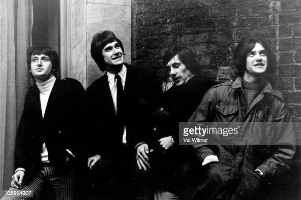 Photo of Ray DAVIES and Pete QUAIFE and Mick AVORY and KINKS and Dave DAVIES LR Pete Quaife Ray Davies Mick Avory Dave Davies posed group shot in May...