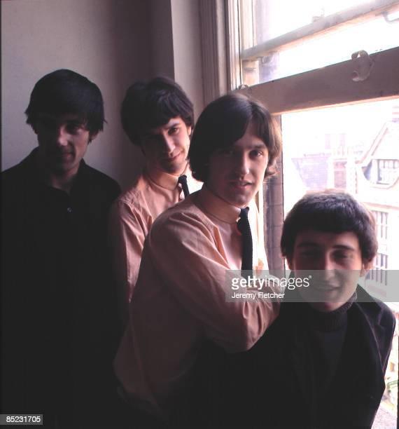 Photo of Ray DAVIES and Pete QUAIFE and Mick AVORY and KINKS and Dave DAVIES LR Mick Avory Ray Davies Dave Davies Pete Quaife posed group shot