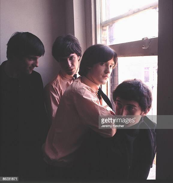 Photo of Ray DAVIES and Pete QUAIFE and Mick AVORY and KINKS and Dave DAVIES; L-R: Mick Avory, Ray Davies, Dave Davies, Pete Quaife - posed, group...
