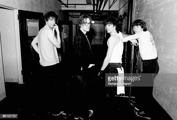 PALLADIUM Photo of REM and Mike MILLS and Bill BERRY and Peter BUCK and Michael STIPE LR Peter Buck Michael Stipe Bill Berry Mike Mills posed group...