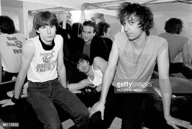 PALLADIUM Photo of REM and Mike MILLS and Michael STIPE and Bill BERRY and Peter BUCK Group portrait backstage LR Mike Mills Michael Stipe Bill Berry...