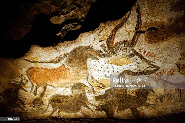 Photo of replicas of the wall paintings of the prehistoric Lascaux cave taken on September 11 2010 in Les EyziesdeTayacSireuil near Lascaux...