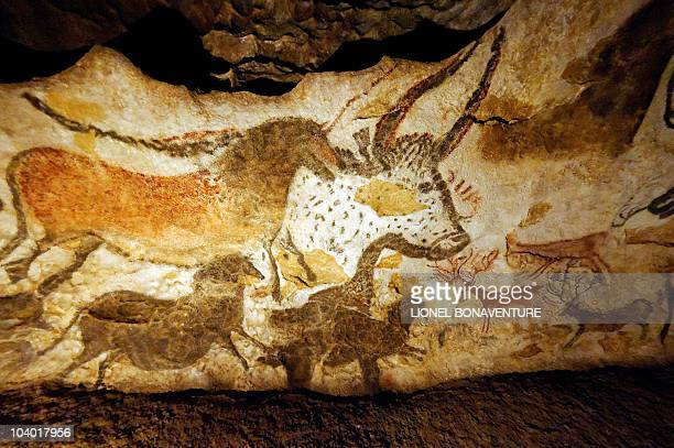 Photo of replicas of wall paintings of the prehistoric Lascaux cave taken on September 11 2010 in Les EyziesdeTayacSireuil near Lascaux southwestern...