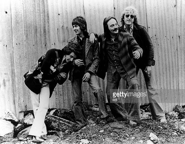 Photo of Rick WILLS and SMALL FACES and Kenney JONES and Ian McLAGAN and Steve MARRIOTT; Posed group portrait - L-R Kenney Jones, Ian McLagan, Steve...