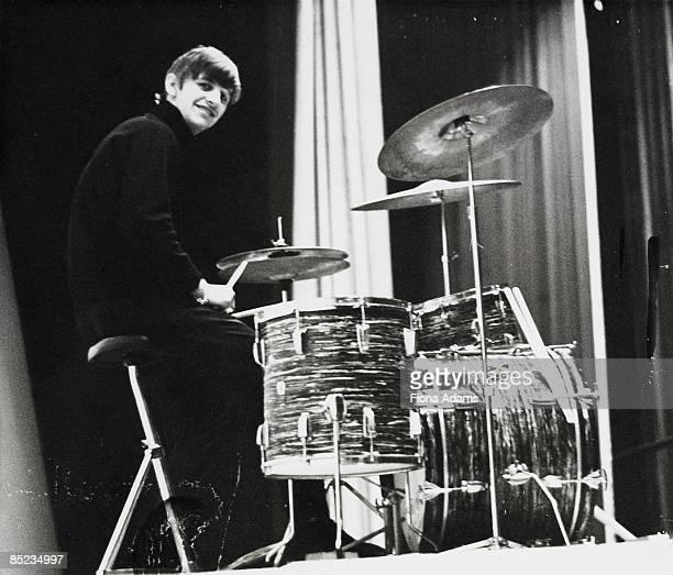 Photo of Ringo STARR and BEATLES Ringo Starr posed at Ludwig drum kit drums c1963