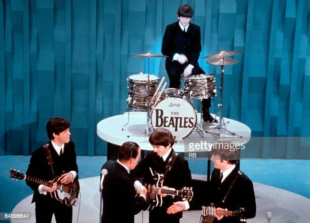 Photo of Ringo STARR and George SULLIVAN and Paul McCARTNEY and Ed SULLIVAN and BEATLES and John LENNON and ED SULLIVAN SHOW, L-r: Paul McCartney, Ed...