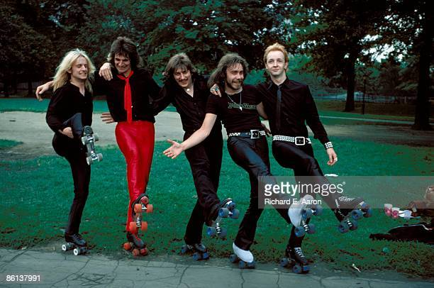 Photo of Rob HALFORD and JUDAS PRIEST and KK DOWNING and Glenn TIPTON and Dave HOLLAND and Ian HILL LR KK Downing Glenn Tipton Dave Holland Ian Hill...
