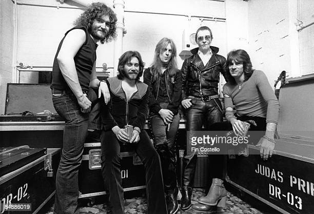 Photo of Rob HALFORD and Les BINKS and KK DOWNING and JUDAS PRIEST and Ian HILL and Glenn TIPTON LR Les Binks Ian Hill KK Downing Rob Halford Glenn...