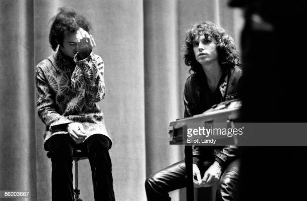 Photo of Robby KRIEGER and Jim MORRISON of The DOORS backstage after concert at Hunter College Playhouse on November 24 1967 in New York City